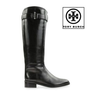 TORY BURCH GRACE BLACK LEATHER TALL RIDING BOOTS 8